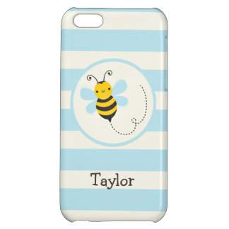 Cute Yellow & Black Bee on Baby Blue Stripes iPhone 5C Covers