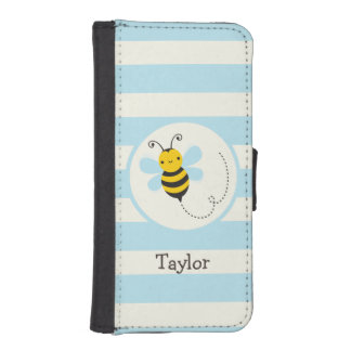 Cute Yellow & Black Bee on Baby Blue Stripes Phone Wallet Cases