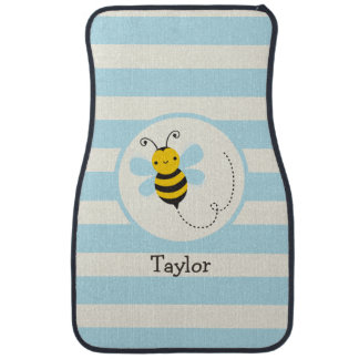 Cute Yellow & Black Bee on Baby Blue Stripes Car Mat