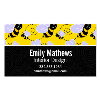 Cute Yellow & Black Bee Pack Of Standard Business Cards