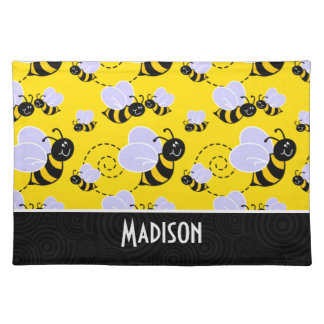 Cute Yellow & Black Bee Placemat