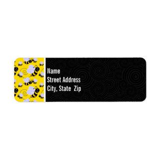 Cute Yellow & Black Bee Return Address Label