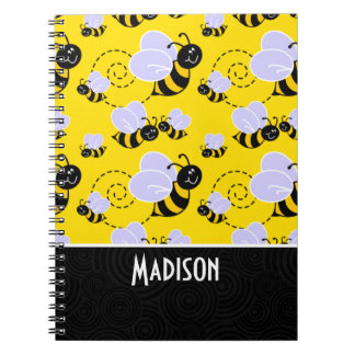 Cute Yellow & Black Bee Spiral Note Book
