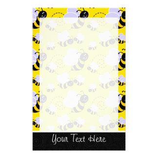 Cute Yellow & Black Bee Stationery