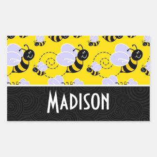 Cute Yellow & Black Bee Rectangular Stickers