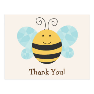 Cute Yellow & Black Bee Thank You Postcard