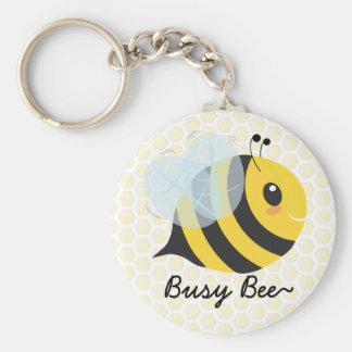 Cute Yellow Black Busy Bee with Honeycomb Pattern Basic Round Button Key Ring