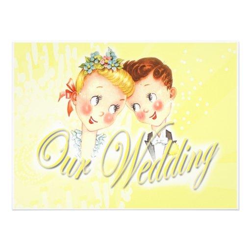 Cute Yellow Bride & Groom Wedding Invitation