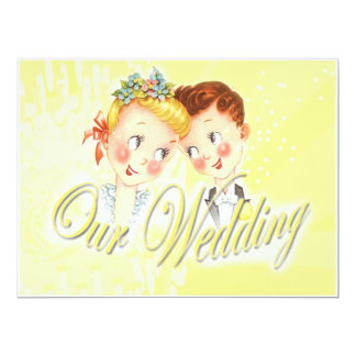 Cute Yellow Bride & Groom Wedding Invitation