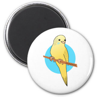 Cute Yellow Budgie 6 Cm Round Magnet