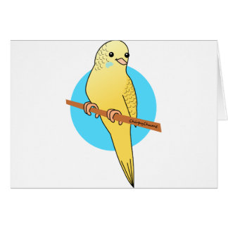 Cute Yellow Budgie Card