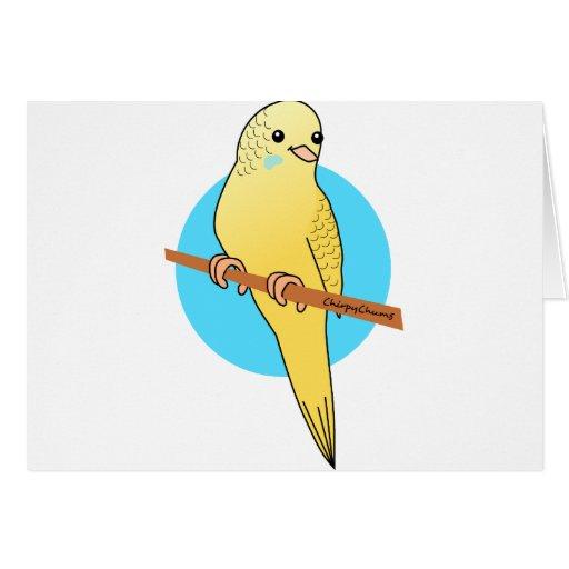 Cute Yellow Budgie Card