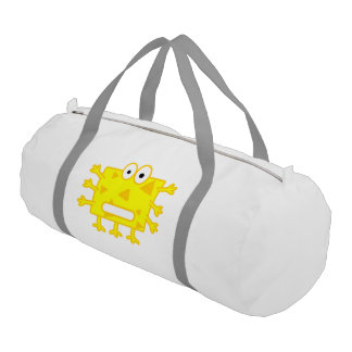 Cute Yellow Cartoon Monster Gym Duffel Bag