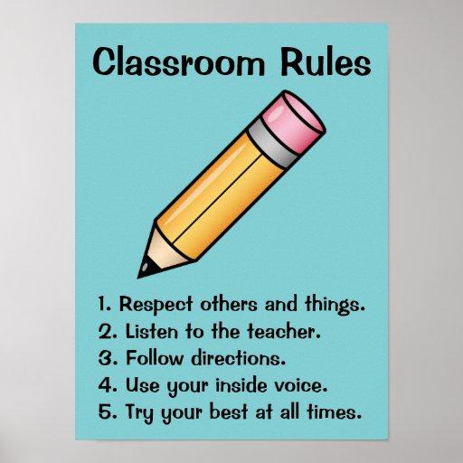 Cute Yellow Cartoon Pencil Custom Classroom Rules Poster