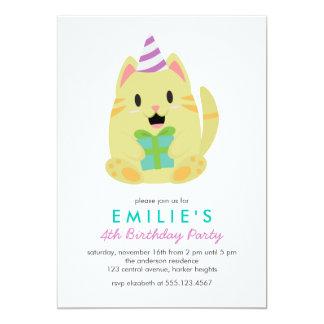 Cute Yellow Cat Kids Birthday Party 13 Cm X 18 Cm Invitation Card