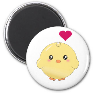 Cute yellow chick 6 cm round magnet