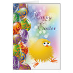 Cute Yellow Chick & Beautiful Easter Eggs