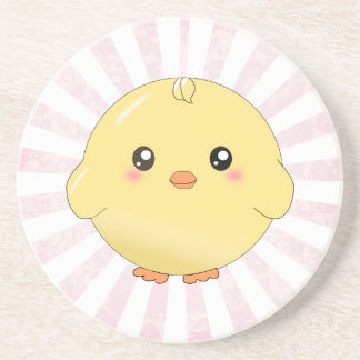 Cute yellow chick beverage coaster