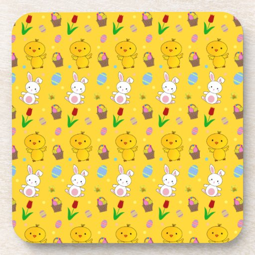 Cute yellow chick bunny egg basket easter pattern coasters