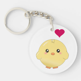 Cute yellow chick round acrylic key chains