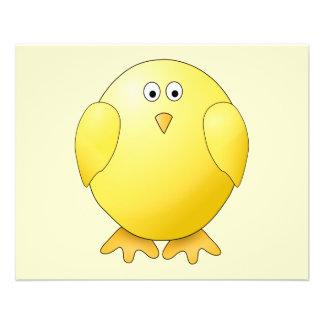 Cute Yellow Chick. Little Bird. Flyer