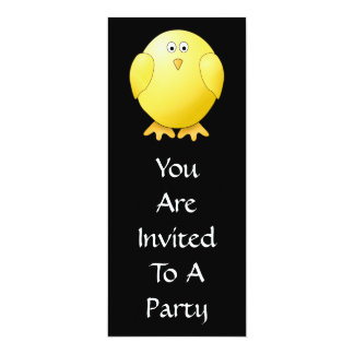 Cute Yellow Chick. Little Bird on Black. 10 Cm X 24 Cm Invitation Card