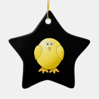 Cute Yellow Chick. Little Bird on Black. Christmas Ornament