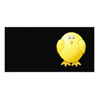 Cute Yellow Chick. Little Bird on Black. Picture Card