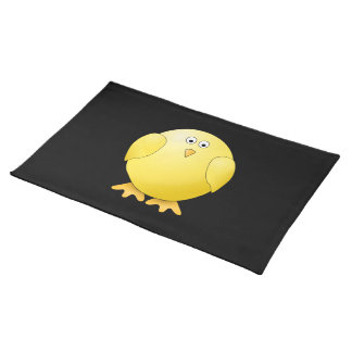 Cute Yellow Chick. Little Bird on Black. Placemat