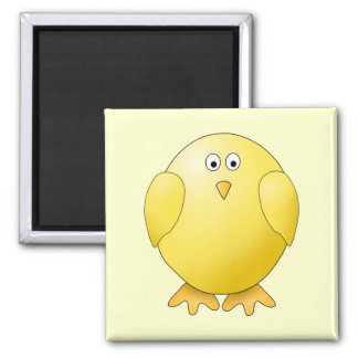 Cute Yellow Chick. Little Bird. Square Magnet