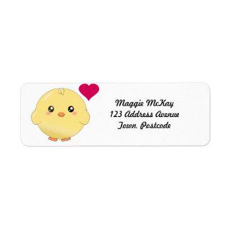 Cute yellow chick return address label