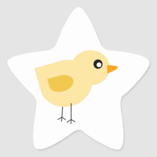 Cute Yellow Chick Star Sticker