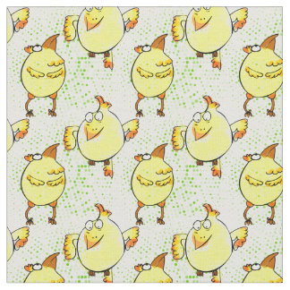 Cute yellow chicken doodle character fabric