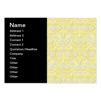 Cute Yellow Damask Business Card Templates