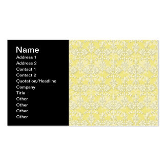 Cute Yellow Damask Business Cards