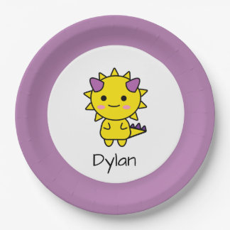 Cute Yellow Dinosaur Cartoon Birthday Paper Plate