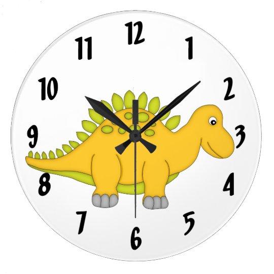 Cute Yellow Dinosaur Kid's wall-clock/Medium Wallclocks