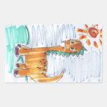 Cute Yellow Dinosaur Sketch Rectangular Stickers
