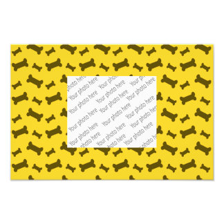 Cute yellow dog bones pattern art photo