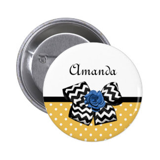 Cute Yellow Dots Blue Rose Chevron Bow With Name 6 Cm Round Badge