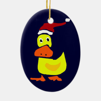 Cute Yellow Duck in Santa Hat Christmas Ornament