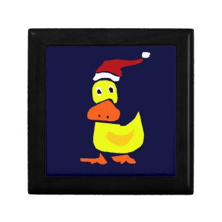 Cute Yellow Duck in Santa Hat Gift Box