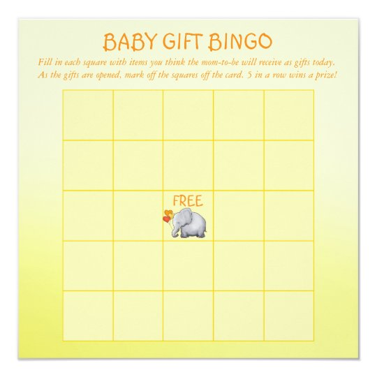 Cute Yellow Elephant Baby Shower Baby Bingo Game