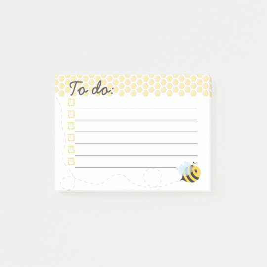Cute Yellow Flying Honey Bee Honeycomb Post-it Notes