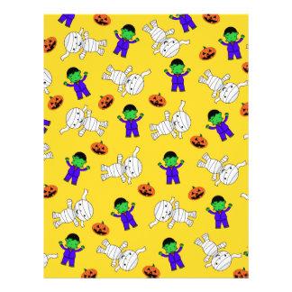 Cute yellow Frankenstein mummy pumpkins Flyer Design