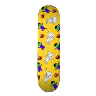 Cute yellow Frankenstein mummy pumpkins Skate Boards