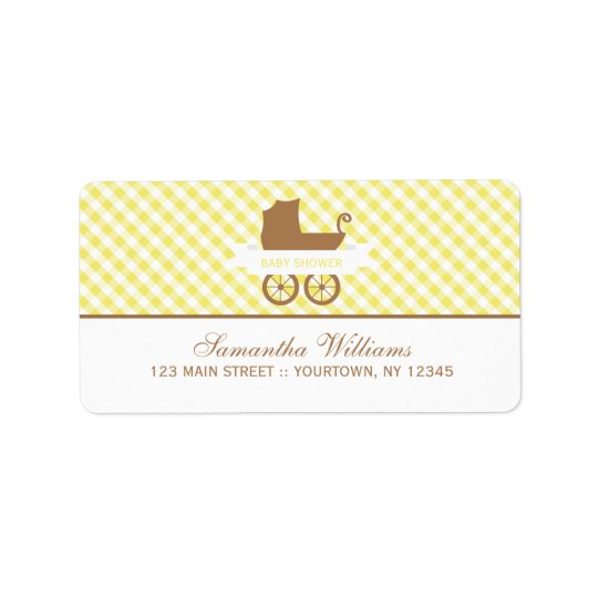Cute Yellow Gingham Pattern and Baby Carriage Address