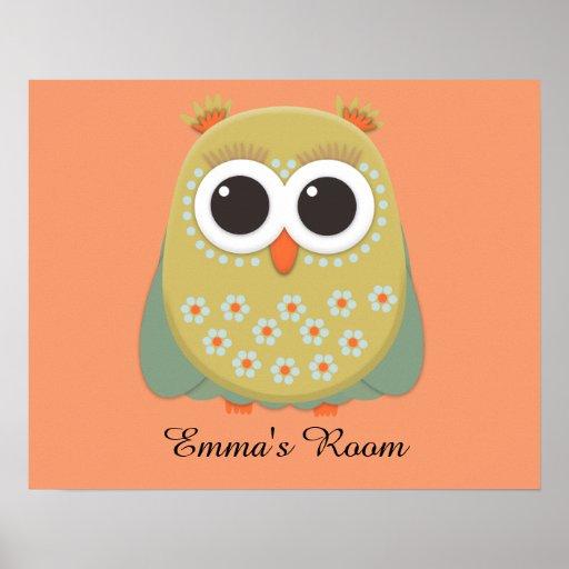 Cute Yellow Green Orange Owl  Personalised Poster