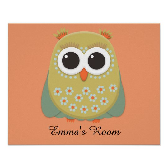 Cute Yellow Green Orange Owl  Personalised Poster
