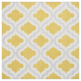 Cute yellow grey ikat Moroccan pattern Fabric